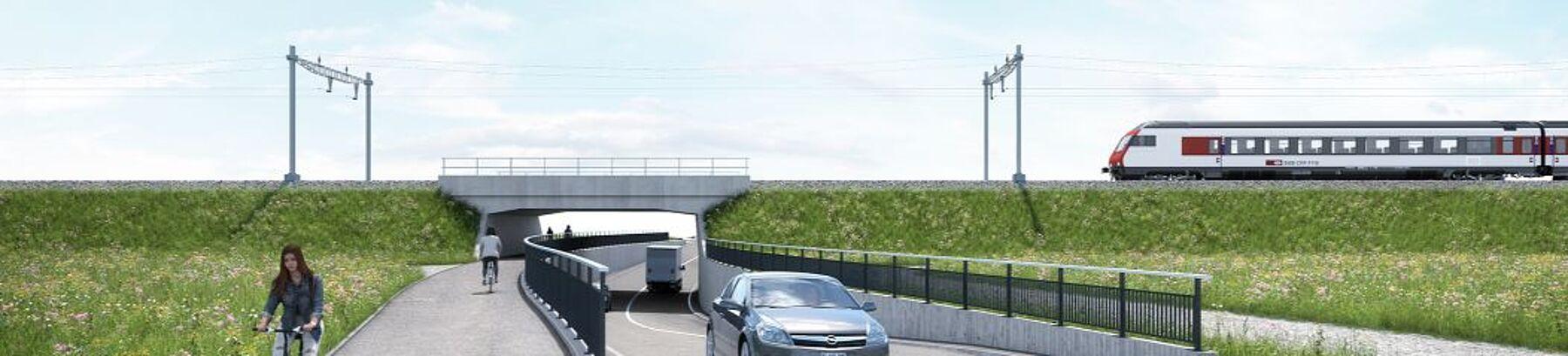 (© Kanton Aargau) Villmergen-Wohlen K 265: Visualisierung neue SBB-Brücke B-328 mit kombinierten Fuss- und Veloweg
