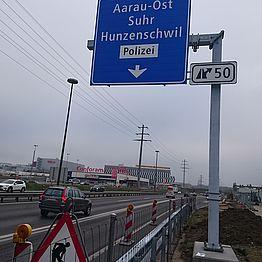 Aarau Ost bis Birrhard Autobahn N01: Verlängerung Ein- und Ausfahrt