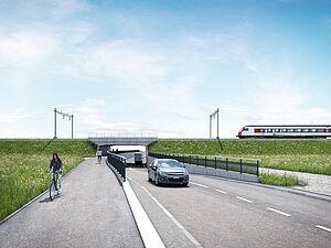 (©Kanton Aargau) Visualisierung neue SBB-Brücke B-328 mit kombinierten Fuss- und Veloweg