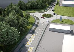 (©Kanton Aargau) Visualisierung K 265 Kreisel, Ansicht von Wohlen mit den Bushaltestellen im Vordergrund