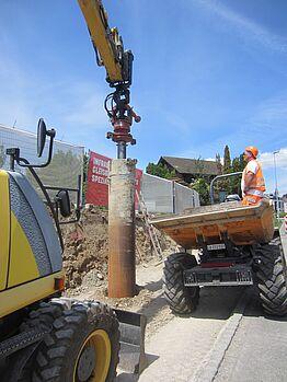 Othmarsingen: Lärmschutzwand Kehrgasse - Bohrpfahlarbeiten